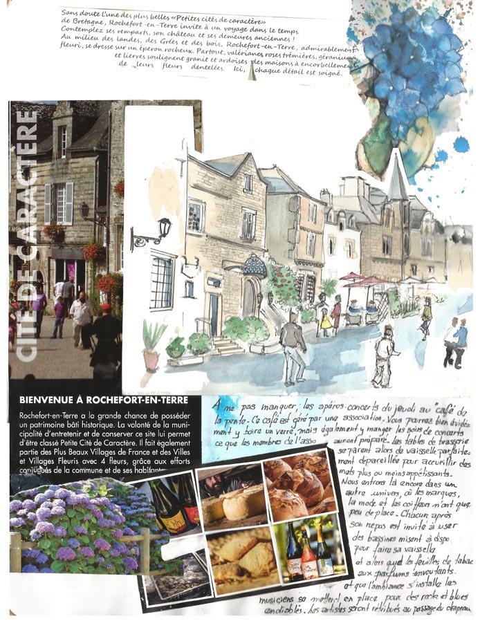 Page de carnet de voyage à Rochefort-en-Terre