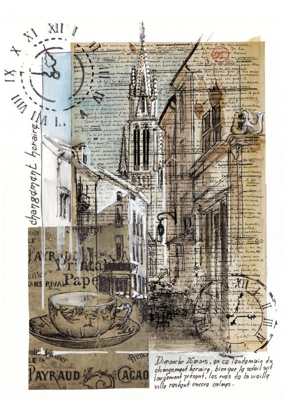 aquarelle sur feuille maniuscrite collée représentant les ruelles vides de la vieille ville de Nancy avec en fond le clocher de l'église St Epvre