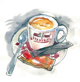 aquarelle tasse à café