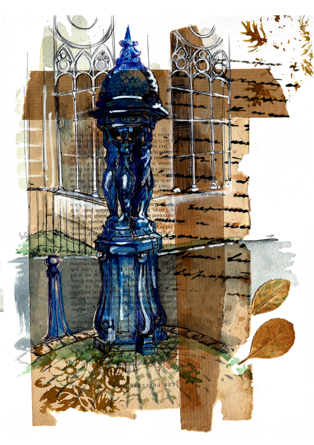 page de carnet de croquis sur laquelle est représentée en bleu Majorelle la fontaine Wallace