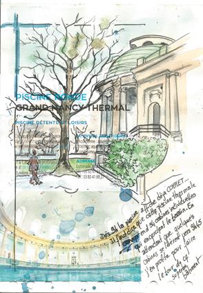page de carnet avec une aquarelle du bâtiment de la piscine ronde et une photo de l'intérieur
