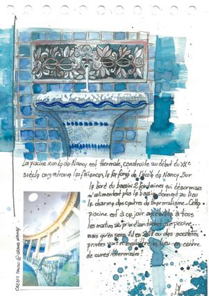 aquarelle d'une de fontaines autour du bassin de la piscine ronde et photo de l'intérieur