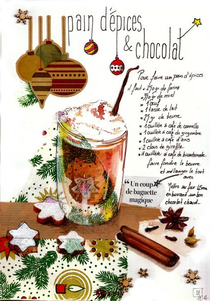 composition mise en page chocolat chaud crémeux et recette du pain d'épices
