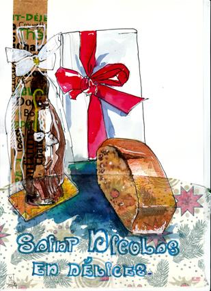 mise en page de croquis de st Nicolas en chocolat paquet cadeau et morceau pain d'épices