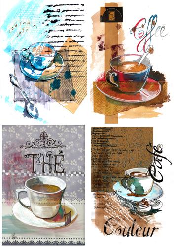 3 mises en page de tasse de café et une de thé