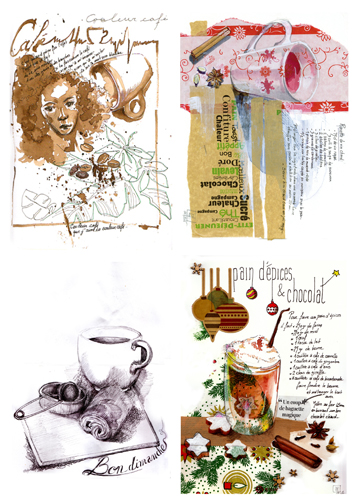 composition thème tasses techniques mixtes collage, aquarelle, stylo bille