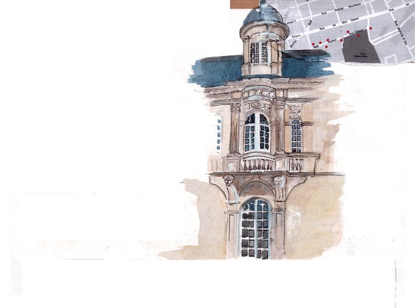 Aquarelle du pignon de la façade de la maison style école de Nancy
