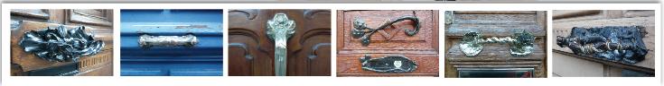 série de poignées de portes décoratives , rue pasteur à Nancy